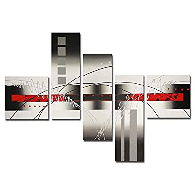 Wieco Art - 5-Piece Perfect White Lines Stretched and Framed Modern Canvas Wall Art Hand-Painted Modern Abstract Oil Paintings on Canvas 5pcs/Set by Wieco Art