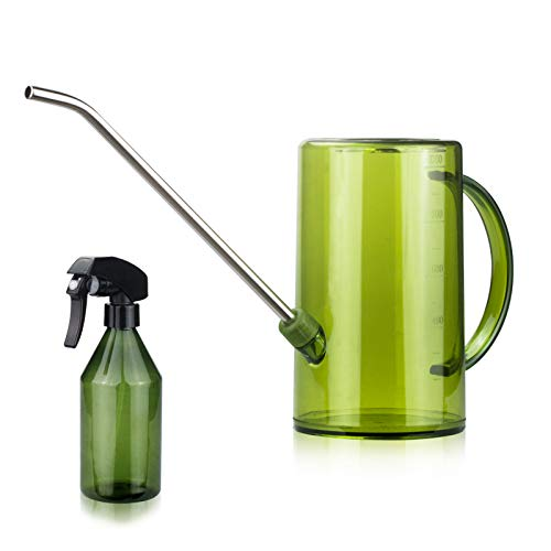 Plastic Watering Can, Stainless Steel Long Spout Watering Pot with Small Mist Spray Bottle for Succulents Bonsai Catus Plants Indoor Outdoor(35oz/1L)