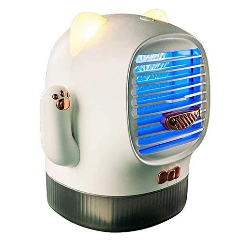 Qchea Refrigerador de aire portátil y humidificador personal, ventilador de aire acondicionado evaporativo de escritorio, refrigerador de aire evaporativo recargable USB 3 velocidades humidificador co