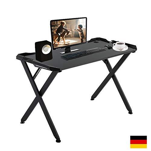 LZQ Gaming Tisch Spieltisch PC Tisch Computerschreibtisch BüRotisch Computertisch Schwarz für Home Office und Spielen von Esport-Spielen (W x D x H:119,5cm x 60cm x 75,5cm)