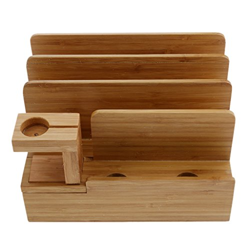 IPOTCH Soporte Organizador de Carga de Bambú para IWatch iPhone Universal Smart Phone and Tablet