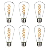 Vintage LED Edison Bulbs, Warm White 2700K, Antique Flexible Spiral LED Filament Light