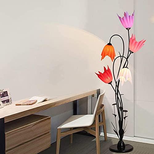 Vloerlamp zwart metaal, 5-kops staande lamp voor woonkamer hoge lamp E27 creatief bloemdesign, acryl lampenkap moderne decoratieve verlichting voor slaapkamers, gangen en kantoor