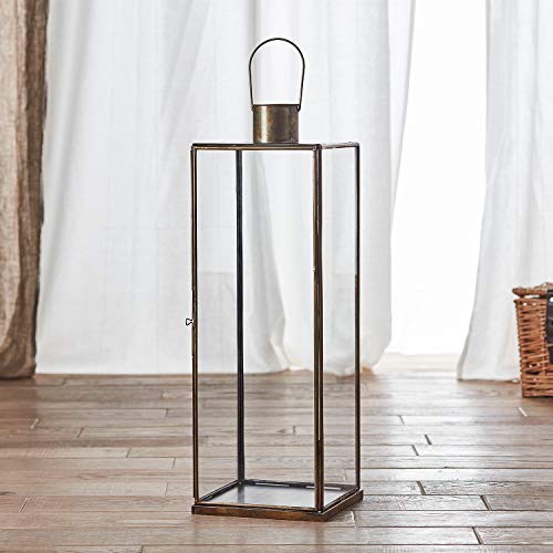 Lights4Fun - Lanterna Grande Di Metallo E Vetro Artigianale 60Cm