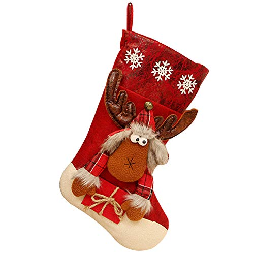 Fablcrew Chaussette de Noel à Suspendre Sac Cadeau de Noël Suspendue pour Bonbon Biscuit Chocolat (Couleur Aléatoire)