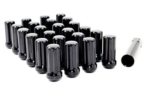 Set of 24 Veritek 14x1.5mm 2 Inch 50mm Overall Length Black Spline Drive Lug Nuts for Aftermarket Custom SUV Truck Wheels