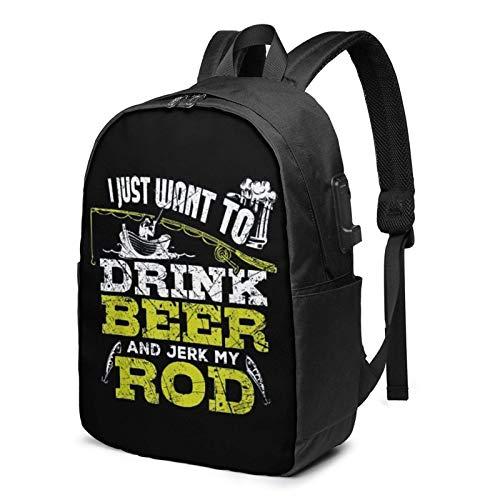Lawenp Ich möchte nur Bier Trinken und Meine Rute wichsen Mode bedruckter USB-Rucksack 17-Zoll-Umhängetasche Laptoptasche Mode-Rucksack Schwarz