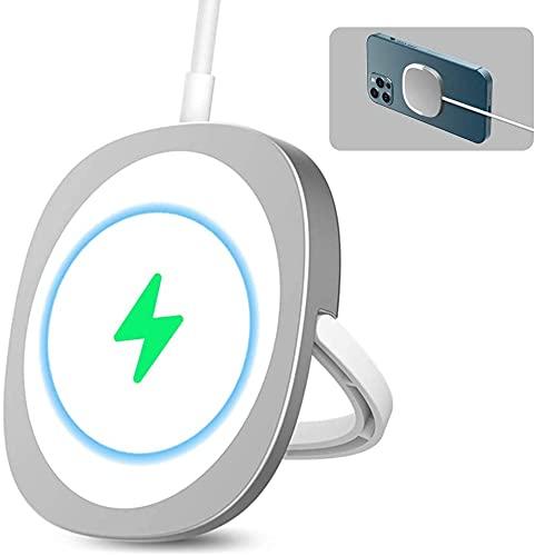 Cargador magnético inalámbrico, para iPhone 12/12 Pro max/12 Pro/12 Mini, con adaptador PD de 20 W, reemplazo para cargador Apple MagSafe (Y3, azul+blanco) (plata)