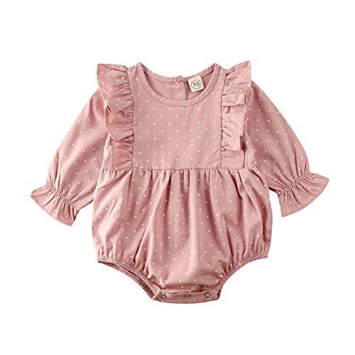 Carolilly - Pelele de bebé con lunares rosas para niña, body de manga larga con volante, de algodón Rosa 0-6 Meses