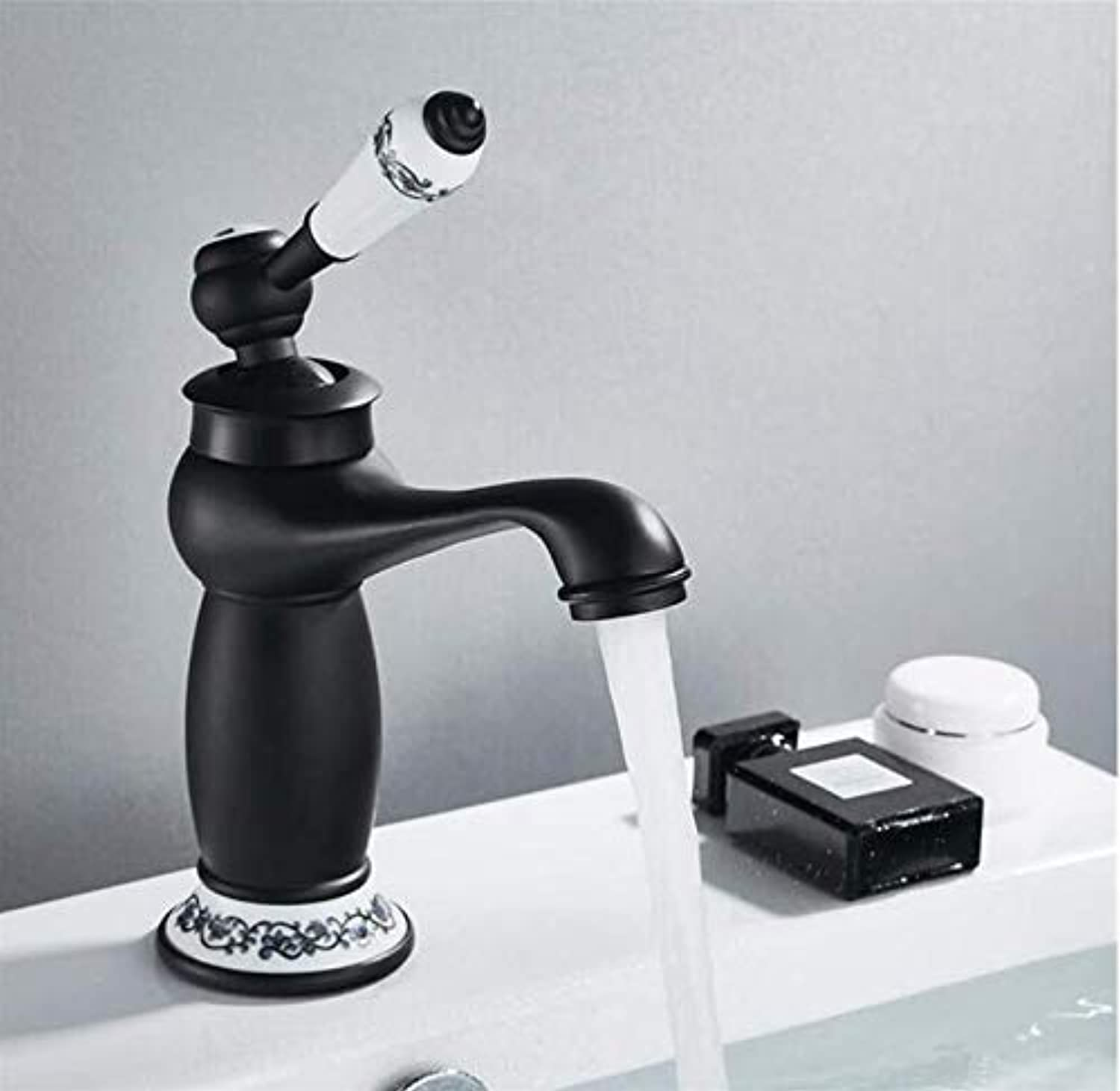 Retro Modern Kitchen Bathroom Retro Single Handle Black Chrome for Cold and Hot Water Sink Mixer Tap Mixer