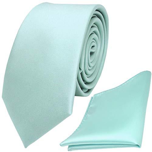 TigerTie - schmale Designer Krawatte Einstecktuch in mint blassmint grün einfarbig uni
