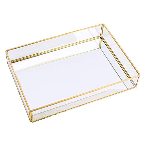 Cuasting Gold Tray Mirror, Rectangle Mirror Tray Can Hold Perfume, Jewelry, Cosmetics, Makeup, Magazine and More,Decorative Tray for Vanity,Dresser,Bathroom,Bedroom(12X8X2 Inch)