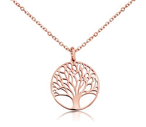 Nuoli® Damen Kette Lebensbaum Rosegold (45 + 5cm verstellbar) Hals Kette Rosegold mit Baum des Lebens Anhänger, aus poliertem Edelstahl