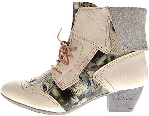 TMA Damen Stiefeletten Echtleder Comfort Boots Leder Halb Schuhe 6188 Weiß Gr. 42