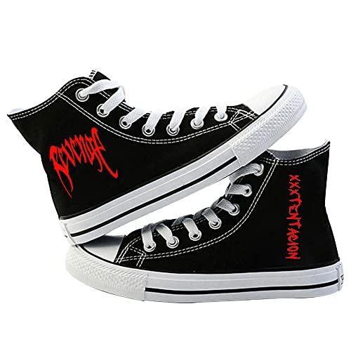 VSOO Xxxtentacion Zapatos de Lona Negros con Cordones Calzado Casual de Moda Unisex-1_36