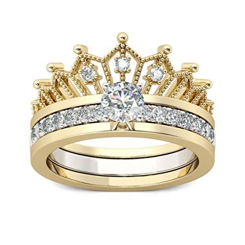 MEIBAOGE 2 uds Anillo de Corona para Mujer Anillos de Compromiso de circonita cúbica Banda joyería de Moda Anillos de Moda-Oro-tamaño 7