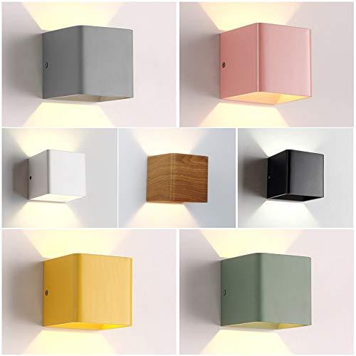 U-Enjoy Chandelier Pieces/Lot Grain 10*10*10Cm Wood Top Quality Lamp 5W LEDWall Aluminum Up Down Bedroom Lighting Living Room Lights Bedside Lamp Free Shipping [Wood Grain,5W & Cool White(5500-7000K)]