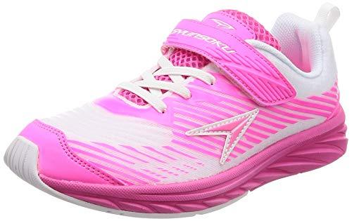 [シュンソク] 運動靴 通学履き 瞬足 幅広 厚底 衝撃吸収 19~24.5cm 3E キッズ 女の子 LEJ 5800 ホワイト/ピンク 23.5 cm