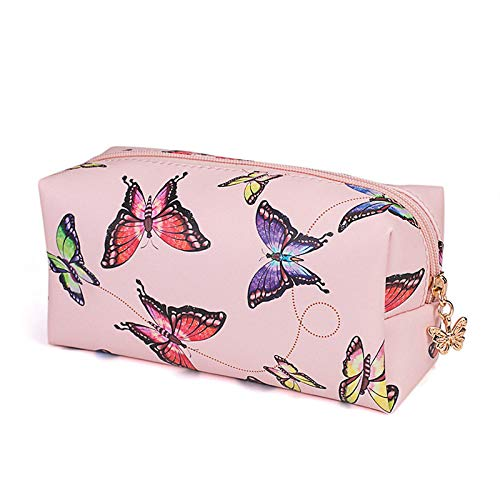 Estuche de lápiz de mármol Chica muchacha gran cremallera cartera de almacenamiento de maquillaje bolsa de cosméticos estuche escolar suministros de papelería mariposa rosa