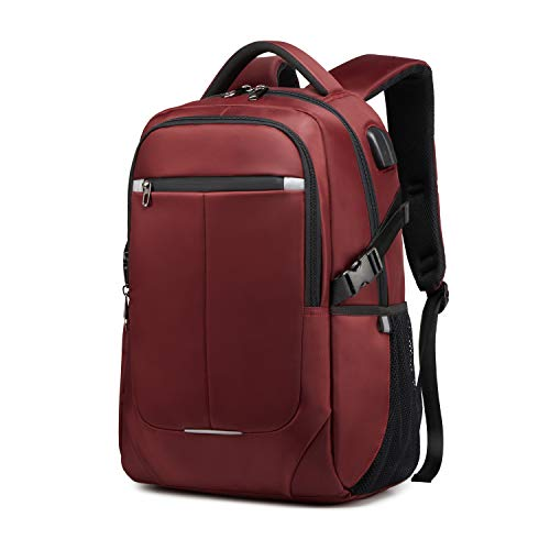 YUKABAN 15.6 inch Laptop Backpack, Travel Computer Backpack with USB Charging Port and Headphone Hole, Anti Theft Water Resistant Laptop Rucksack for Women and Men,Travel Computer Bag.(red)