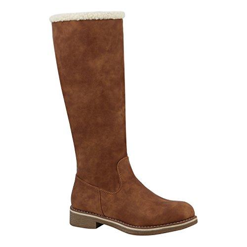 Klassische Damen Stiefel Warm Gefütterte Boots Winter Schuhe 152482 Hellbraun Agueda 36 Flandell