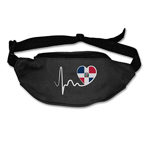 TAOHJS76 Men's and Women's Belt Bag Fit All Phone Models and Fit All Waist Sizes Dominican Republic Flag Heartbeat-1 Best for Running, Workouts, Cycling, Travelling