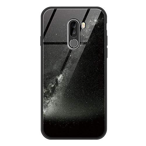 Zhuofan Plus Funda Xiaomi Pocophone F1, Silicona Suave TPU Gel Bumper con Diseño Print Patrón Tempered Glass Anti-rasguños Shockproof Protactivo Cover para Xiaomi Pocophone F1, Cielo Negro