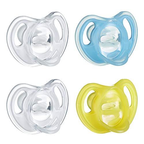 Tommee Tippee Ultraleichter Silikon Baby Schnuller blau & gelb – 6-18 Monate 4 Stück