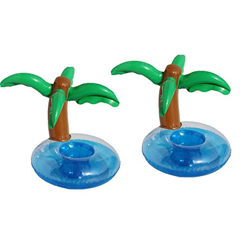 BinaryABC Inflatable Coconut Tree Palm Trees Drink Holders Drink Floaties, Pool Drink Holder Floats, Inflatable Floating Drink Cup Holder,Hawaii Summer Pool Paty Drinks Favors,2Pcs