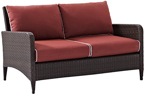 Crosley Furniture Kiawah Outdoor Wicker Ottoman with Sangria Cushions - Brown