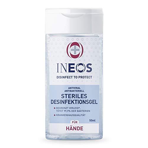 INEOS Hygienics Handdesinfektionsmittel auf Alkoholbasis Begrenzt Viruzid, tötet 99,9% der Bakterien. 75% Alkohol in Pharmaqualität, Hygiene wie im Krankenhaus für zu Hause, 50 ml