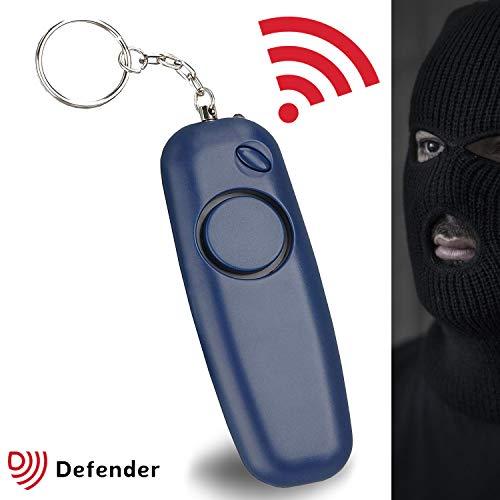 Defender Slimline Policía aprobado ligero 130dbs alarma Personal con linterna en azul marino