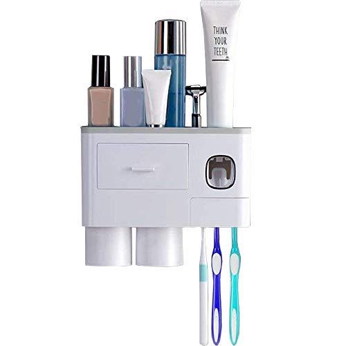 Wekity - Portaspazzolino da parete con dispenser automatico di dentifricio e portaspazzolino con 2 tazze, fessure per spazzolino e cassetti, organizer per il bagno per bambini e adulti (grigio)