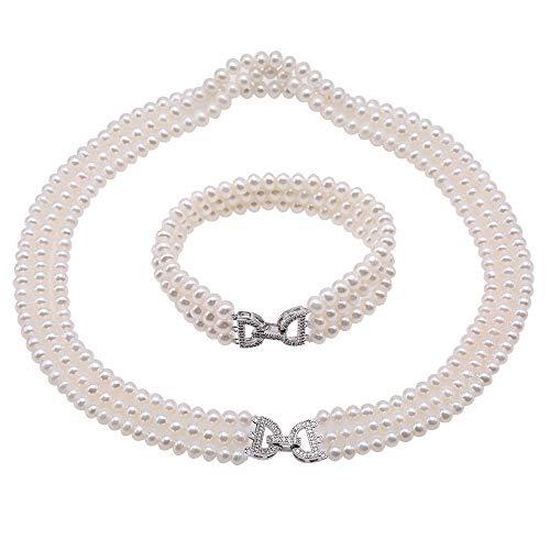 JYX Lot de 3 colliers de perles de culture d'eau douce AAA 5-5,5 mm