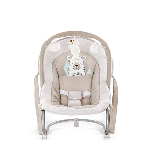 Hauck Bungee Deluxe hamacas bebes, mecedora con movimiento, respaldo ajustable, sistema de arnes, arco de juegos, de 0 meses hasta 9 kg, antivuelco, portátil - beige