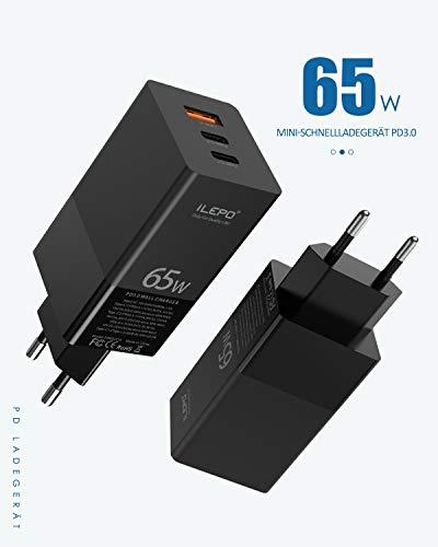 iLepo USB Netzteil 65W PD Ladegerät mit Super-silizium Technologie für MacBook Pro,Typ-C Laptops,iPad,Smartphone und mehr.