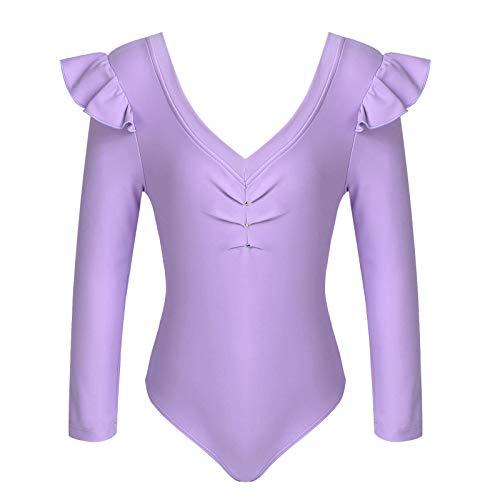inlzdz Maillot de Ballet Danza para Niñas de Manga Larga Body Monos Deportivos Gimnasia Entrenamiento Chica Morado 11-12 años
