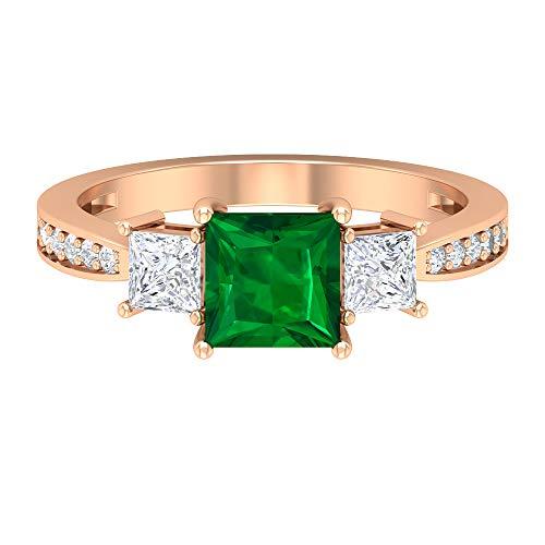 Rosec Jewels 18 quilates oro rosa talla princesa princess-shape round-brilliant-shape H-I Green Diamond Esmeralda creada en laboratorio.