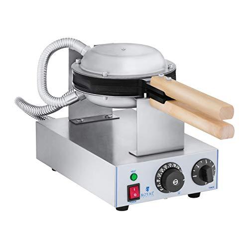 Royal Catering Gofrera con Base de Burbujas Bubble Waffle Maker RCWM-1400-B (1.415 W, Acero inoxidable y Aluminio, Temperatura 50-250 °C)