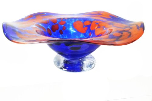 Oberstdorfer Glashütte Schale farbige Glasschale blau orange marmorierte Kristallglas Schale mundgeblasen Durchmesser ca. 16 cm