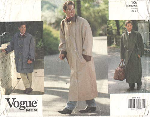 Vogue # 1032 Mens Loose Fitting Field Coat Jacket Duster Pattern Detachable Lining Adult Sewing Pattern Size: L-XL
