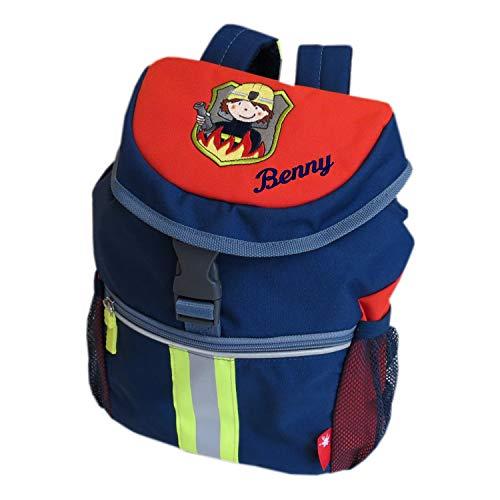 Sigikid Kinder-Rucksack mit Wunsch-Name bestickt 26 cm x 12 cm x 30 cm Frido Firefighter dunkelblau rot Kindergarten-Tasche personalisiert im Feuerwehr-Look mit Reflektor-Streifen