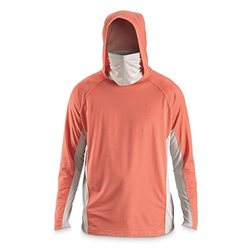 Guide Gear Men's Cooling Fishing Hoodie with Neck Gaiter, Deep Coral, XL
