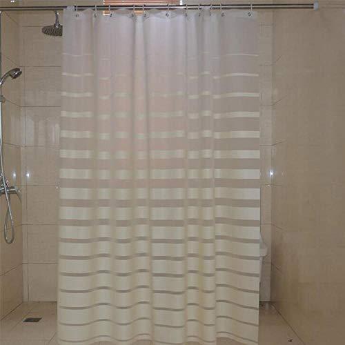 Plastic douchegordijnen PEVA White Striped Bath Screen voor Home Hotel Badkamer Waterdicht, vormvast gordijn met haakjes 180x200cm