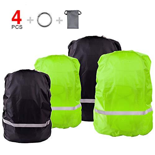 LandJoy Rugzak regenhoes, 4 stuks schooltas waterdichte regenhoes met reflecterende elementen, regenhoes rugzakhoes voor 30L - 50L (zwart, groen)