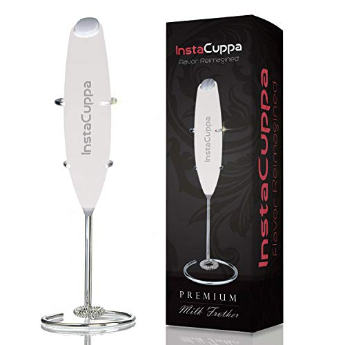 InstaCuppa Milk Frother Handheld Battery Operated Electric Foam Maker with Stainless Steel Whisk, Stainless Steel Stand Included, Black