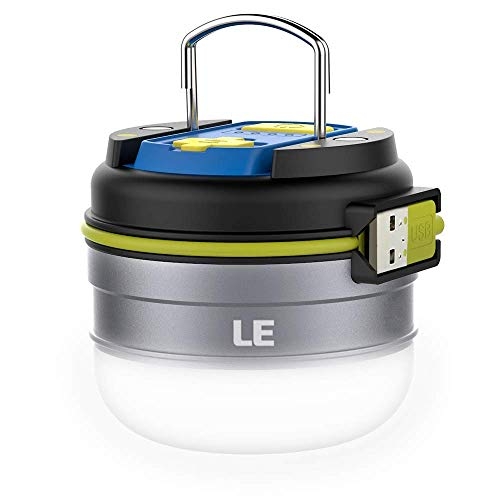 Lighting EVER 3300010-NW LE Linterna LED Camping USB Recargable, Luz Blanca Neutra 280lm, Función Powerbank 3000mAh, Resistente al Agua, con Gancho e Imanes, Men's, 70mm (Diámetro ) 63mm(Altura)