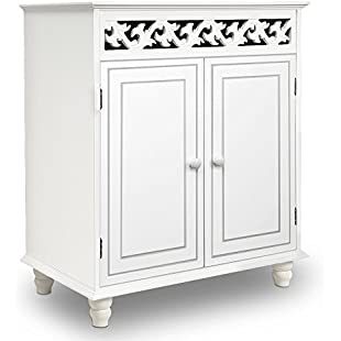 """White Wooden Cabinet Cupboard Sideboard """"Nostalgia"""" Doors Storage Furniture Freestanding Rustic Shabby Chic Cottage Country House French Style:Asagao"""
