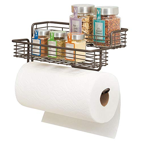 mDesign Metal Kitchen Roll Holder — High-Quality Wall Mounted Kitchen Shelves for Spices with Paper Towel Holder — Practical Two-Tier Kitchen Organiser — 30.5 cm x 17.8 cm x 17.8 cm — Bronze (Kitchen & Home)