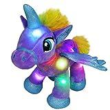 Houwsbaby Glow Unicorn Light Up Stuffed Animal Soft LED Horse Plush Toy Glitter Gift for Kids Boys Girls Companion Pet Present for Holiday Birthday, 14'' (Purple)